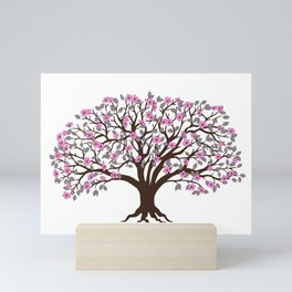 apple tree with pink blossom on the white background Mini Art Print