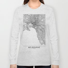 Melbourne White Map Long Sleeve T-shirt
