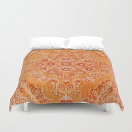 Orange Boho Oriental Vintage Traditional Moroccan Carpet style Design Duvet Cover