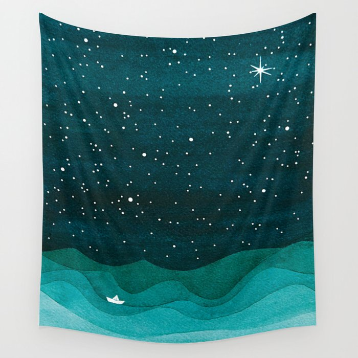 Starry Ocean, teal sailboat watercolor sea waves night wall tapestry by VApinx