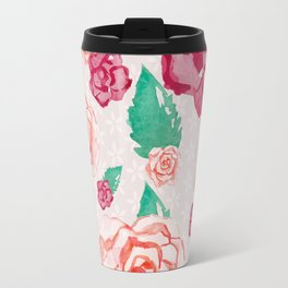 Pink and Peach Flowers in Watercolor Travel Mug