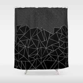 Ab Lines 45 Grey and Black Shower Curtain
