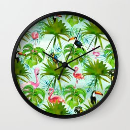 Tropical green pink colorful birds watercolor floral Wall Clock