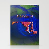 maryland Stationery Cards featuring Maryland Map by Roger Wedegis