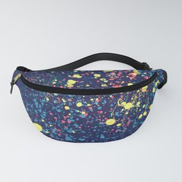 Abstract pink blue yellow watercolor splatters motif Fanny Pack