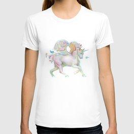 Winged Unicorn with Bluebirds T-shirt