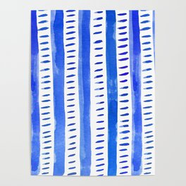 Watercolor lines - blue Poster