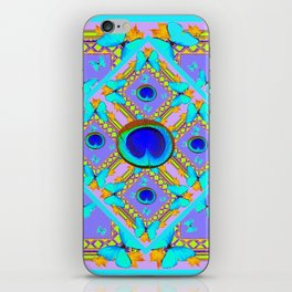 Pastel Turquoise Butterflies & Lilac Pattern iPhone Skin
