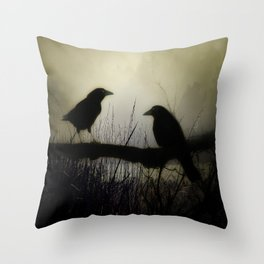 Misty Crows Throw Pillow