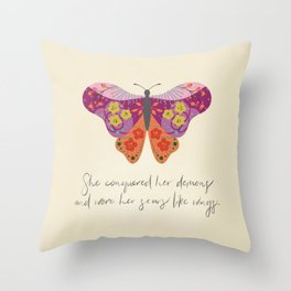 Botanical Butterfly: She conquered her demons Throw Pillow