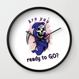 Are you ready to go - Grim Death Reaper Scythe Halloween Skeleton Creepy Scary Kid Friendly Design  Wall Clock