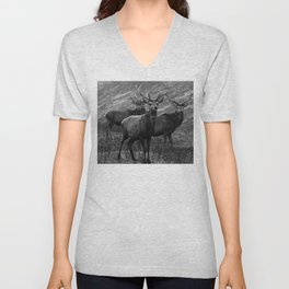 The four stags on the loch b/w Unisex V-Neck