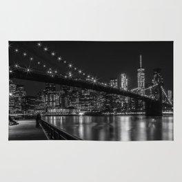 MANHATTAN SKYLINE & BROOKLYN BRIDGE Gorgeous Nightscape Rug