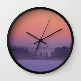 Foggy Winter Evening With Beautiful Sunset Colors In The Sky #decor #buyart #society6 Wall Clock