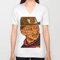 freddy krueger V-neck T-shirts featuring Freddy Krueger by Art of Fernie
