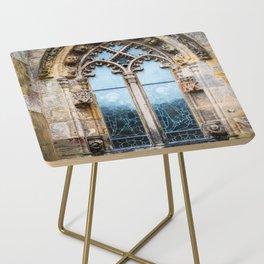 Stained glass window of Rosslyn Chapel outside Edinburgh, Scotland Side Table