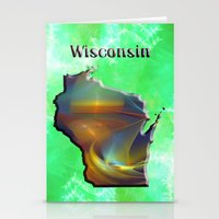 wisconsin Stationery Cards featuring Wisconsin Map by Roger Wedegis