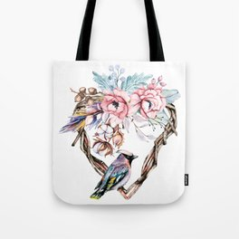Watercolor heart with flowers and bird. Hand painting. Tote Bag