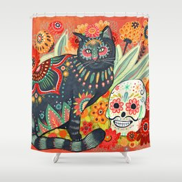 Dia De Los Muertos Cat Shower Curtain