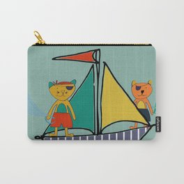 Pirate Boat teal Carry-All Pouch