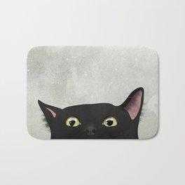 Curious Black Cat Bath Mat