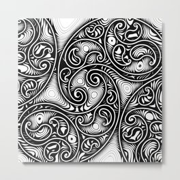 Abstract Black and White Paisley  Metal Print