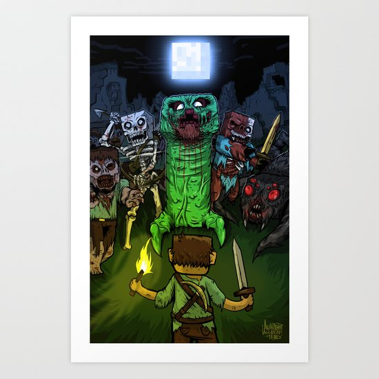"""Bring on the Night"" Minecraft Illustration Art Print"