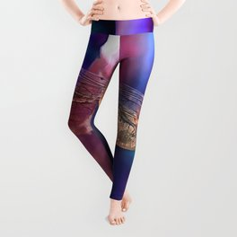 Dragonfly In Orange and Blue Leggings