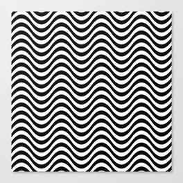 Zebra Skin Wavy Pattern Halftone Monochrome Abstract Canvas Print