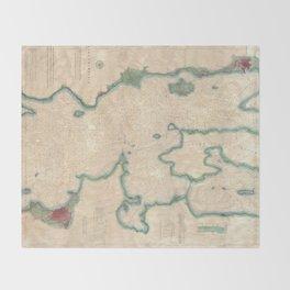 Vintage Map of Lake Champlain (1874) Throw Blanket