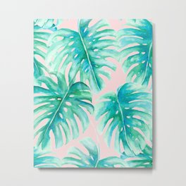 Paradise Palms Blush Metal Print