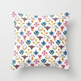 Blue Bell – Scandinavian folk art Throw Pillow