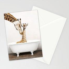Bathitude - Mother & Baby Giraffe in a Vintage Bathtub (c) Stationery Cards