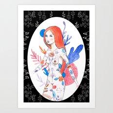 tattoo woman Art Print