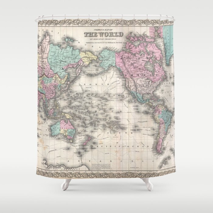 Vintage world map from 1855 geographic atlas of the world america vintage world map from 1855 geographic atlas of the world america europe australia map shower curtain by zado society6 gumiabroncs Gallery