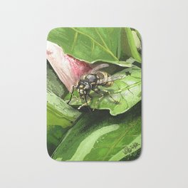Wasp on flower16 Bath Mat