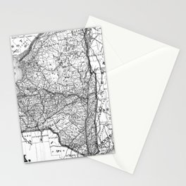 Vintage Map of New York (1873) BW Stationery Cards