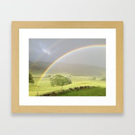 Double rainbow in the Scottish Highlands Framed Art Print