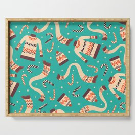 Vintage Christmas Seamless Pattern Serving Tray