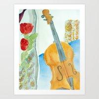 Violin and Roses Art Print