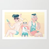 jjba Art Prints featuring jjba morioh beach bros by Ash Knight