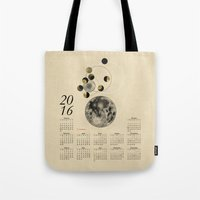 calendar Tote Bags featuring 2016 Full Moon Calendar by J Arell