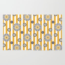 Mod Flowers on Stripes in Navy and Golden Yellow Rug