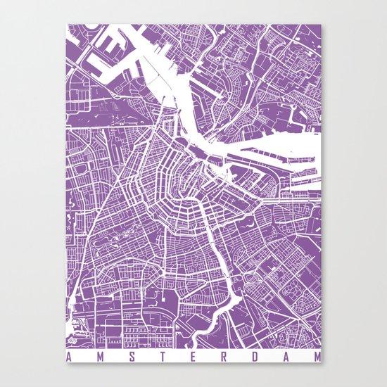 Amsterdam map lilac Canvas Print