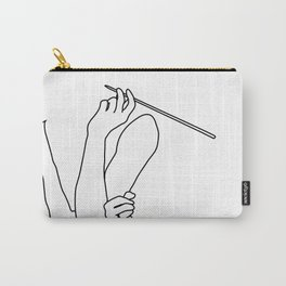 Minimal line drawing Audrey Hepburn smoking white - breakfast at Tiffani Carry-All Pouch
