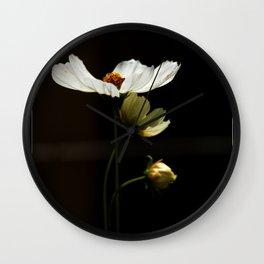 White Cosmos Wall Clock