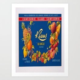 Advertisement confiserie klaus le locle fourres Art Print
