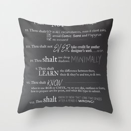 The 10 Commandments for Graphic Designers Throw Pillow