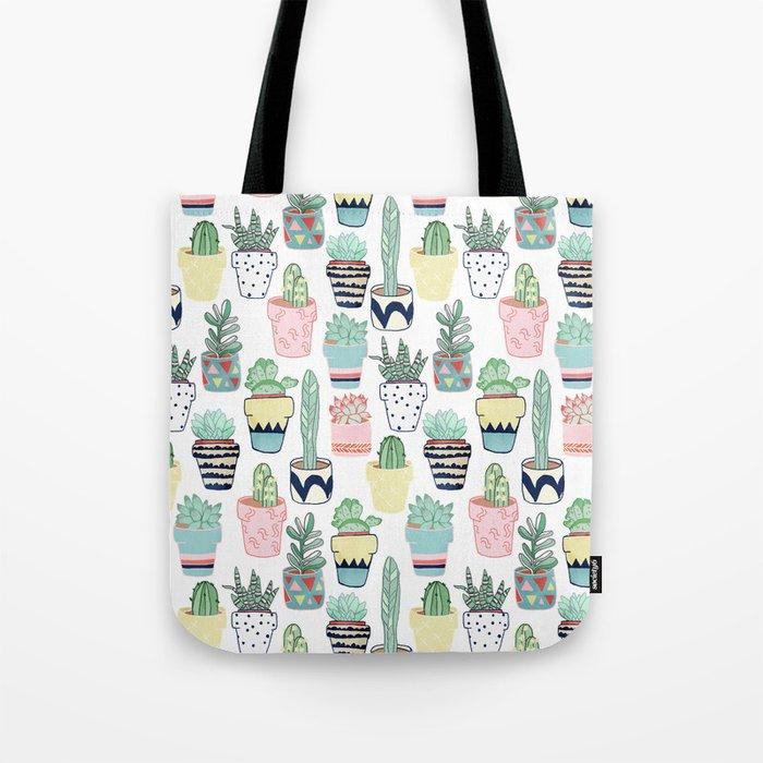 Cute Cacti in Pots Tote Bag