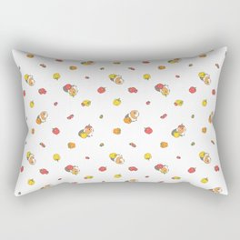 Bell Peppers and Guinea Pigs Pattern in White Background Rectangular Pillow